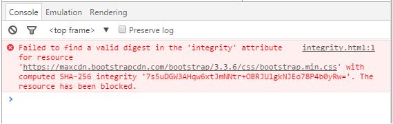 Console in browser does inform about subresource integrity check fail.