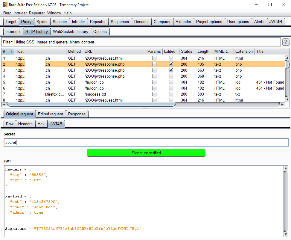 Screenshot of the JWT4B History View