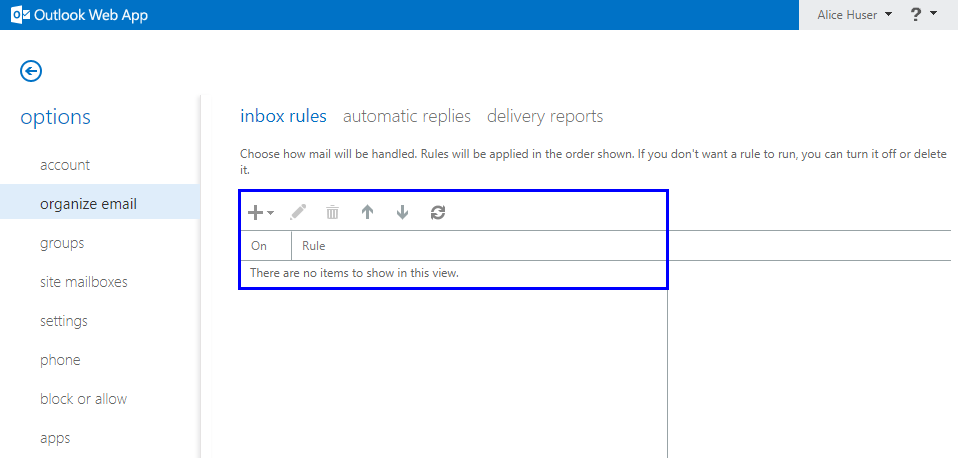 Show Inbox Rule